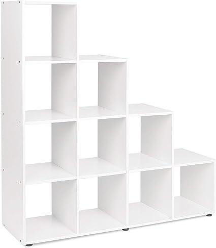 MultifuncióN Estante Almacenamiento Baldas Estantería blanca Unidad de almacenamiento de cubo de madera Estantería de escalera Estantería de oficina en casa Organizador de estantería 105 * 105 * 29 cm: Amazon.es: Hogar