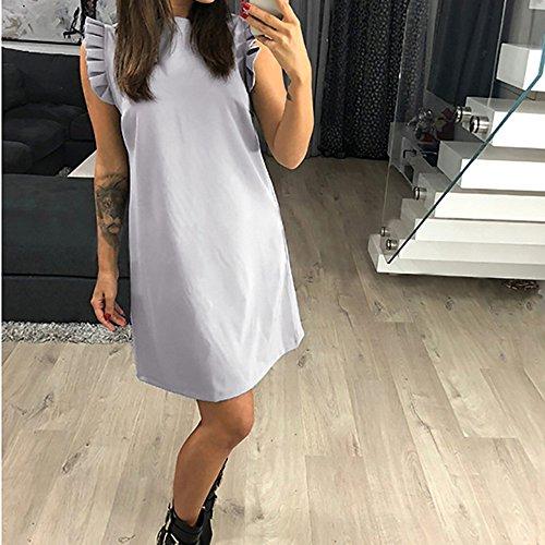 Superiore Sera Maniche Vestiti Pullover Solido Senza Grigio Abito Donne Mini Signora Dalla Partito 40zCq