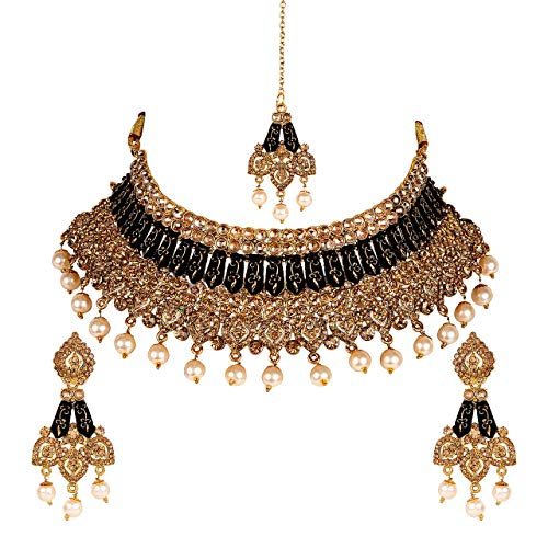 Jewel India Bollywood Designer Ethnic Wedding Bridal Traditional Pearl Kundan 22k Gold Plated Choker Necklace Set ()