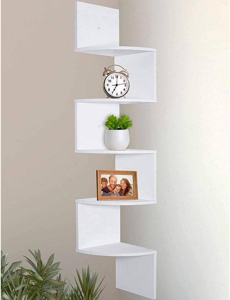 Greenco Wall Mount Corner Shelves White Finish 5 Tier