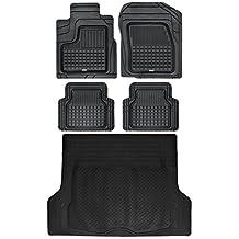 Motor Trend BB210-B3 Performance Plus Rubber Car Floor Mats & Cargo Weather Liners 5pc Set (Black)