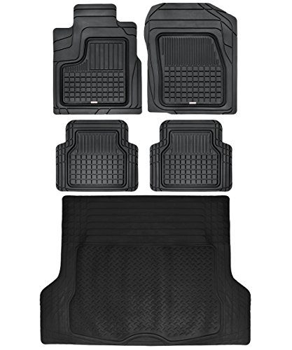 Black Performance Plus Rubber Car Floor Mats and Cargo Weather Liners 5pc Set (2012 Toyota Highlander Rubber)