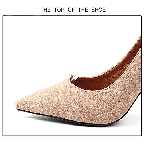 basse punta femminile RBB ad fibbia e tacco spillo con a con alto ardiglione Tacchi a scarpe 39 Marrone wx6HZ1