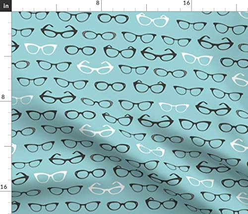 Retro Cats Eye Glasses Fabric - Blue Retro Mod Fashion Novelty Cats Eye Glasses Retro Vintage Specs Eyeglasses Nerd Geek by Cynthiafrenette Printed on Lightweight Cotton Twill Fabric by The ()