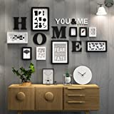 LQQGXL Photo frame collage wood combination photo frame living room creative wall restaurant wall decoration photo Photo frame ( Color : Black and White )