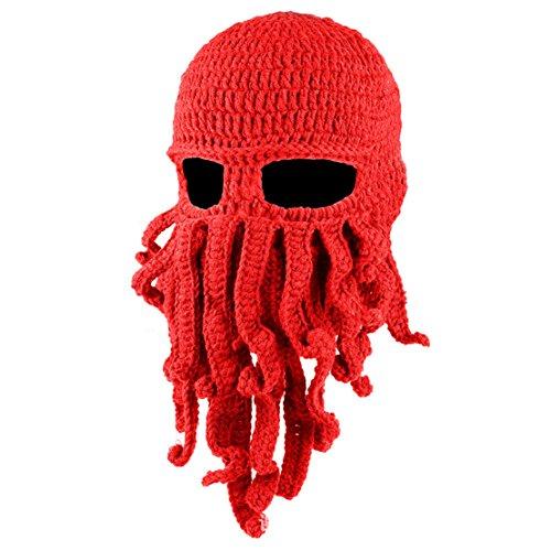 Unisex Winter Octopus Knit Hat Beard Beanie Warm Windproof Mask Knit Hat Cap Halloween Costumes (Red) ()
