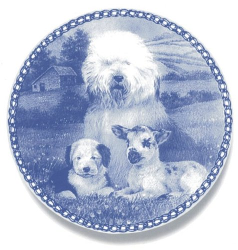 Lekven Old English Sheepdog Design Dog Plate 19.5 cm  7.61 inches Made in Denmark NEW with certificate of origin PLATE  3034