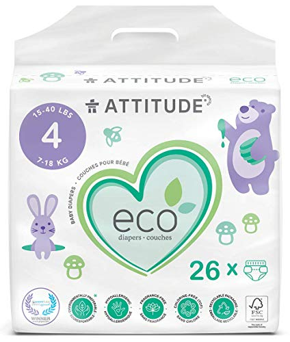 ATTITUDE Biodegradable Baby Diapers, Safe for Sensitive Skin, Non-Toxic, Lotion-Free & Fragrance-Free, White, 4 (15-40 lbs), 104 Count