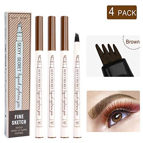 Microblading Eyebrow Pen, 4 Pack Brow Pen Brown, 24 Hours Waterproof Tattoo Pen for Eyebrow, Micro-Fork Tip Brow Pencil, 3D Nature Brow Pen, Eyebrow Pencils
