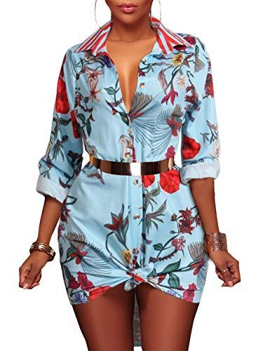 Women's Floral Button Down Shirt Long Sleeve Collar Loose Blouse Dressy Tops Sexy Mini Shirt Dress (Dresses Plus Size Sale)