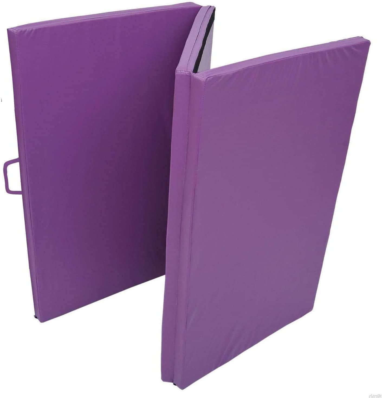 and Home Gym Protective Flooring Mat 2 Carrying Handles for Workout Purple Yoga Gymnastics ProGymnastics 6x4 2 Thick Tri Fold Folding Exercise Mat Aerobics MMA