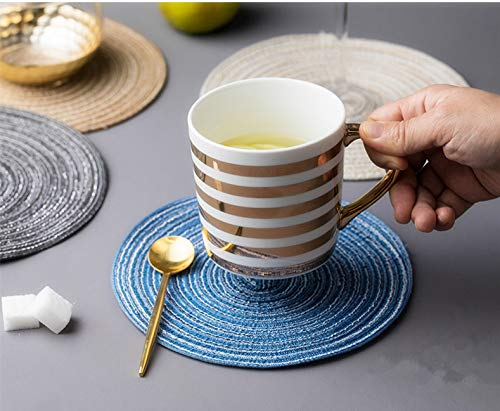 (HI-QUAL Table PlaceMats Round and Coasters Set of 6,Round Placemats,Hand-Woven 7 Inch Table Mats,Family Insulation,Non Slip Stain Resistant Ramie Place Mat Home Kitchen, Dining Table, Outdoor (Blue))