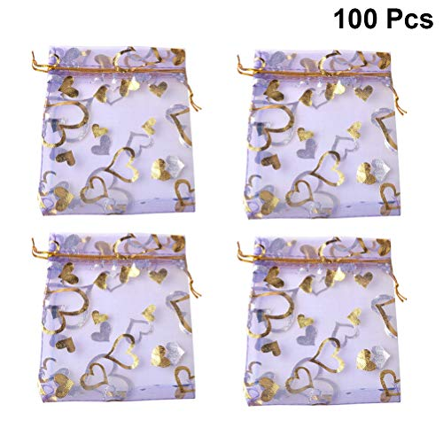 TOYANDONA 100pcs Drawstring Gift Bag Sachet Bag Bronzing Heart Shaped Pearl Yarn Bag Pocket Candy Pouch for Wedding Party Jewelry Favors (Lavender)