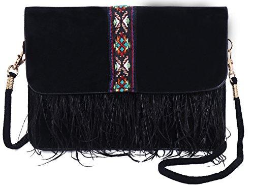 (Pulama Vintage Ostrich Feather Suede Purse Cellphone Wallet Bag Crossbody Black)