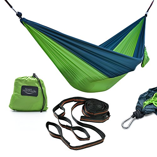 Ultimate Hiking Gear Hammock – Supreme Quality – Ideal for Backpacking, Hiking, Camping, Beach or Backyard! Premium Rip Stop Technology. Extra Strong Adjustable Tree Straps & Carabiners Included!
