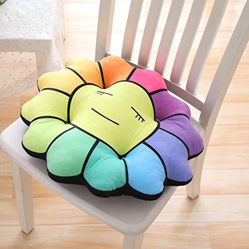 Cojines redondos, flor de sol culo matcute dibujos animados, ademas de cojin de felpa gruesa se sienta alfombra de la silla de estudiante de oficina 45*45cm Cojines florales de colores individuales
