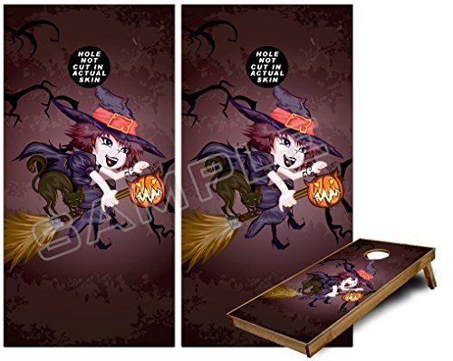 Cornhole Bag Toss Game Board Vinyl Wrap Skin Kit - Cute Halloween Witch on Broom with Cat and Jack O Lantern Pumpkin (fits 24x48 game boards - Gameboards NOT ()