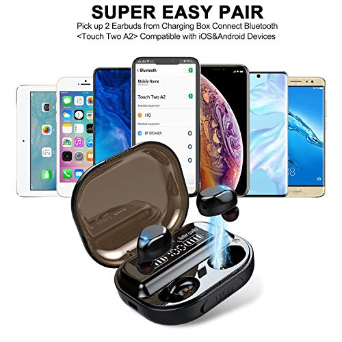 Wireless Earbuds with Immersive Sound, Bluetooth Headphones in-Ear with Charging Case, Waterproof TWS Stereo Earphones,Easy-Pairing Built in Mic Headset with Deep Bass for Sport,Workout,Gym(Black