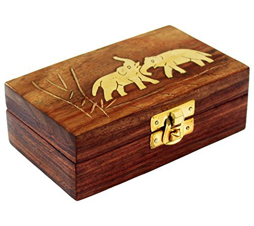 ITOS365 Handmade Wooden Small Jewelry Box Elephant Charm Jewel Organizer - Gifts for Women, 5 x 3 - Gift Box Jewel