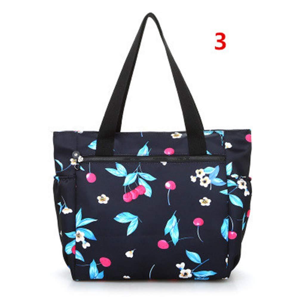 Waterproof Nylon Shopping Bag Floral Print Women Shoulder Handbags 3 one size