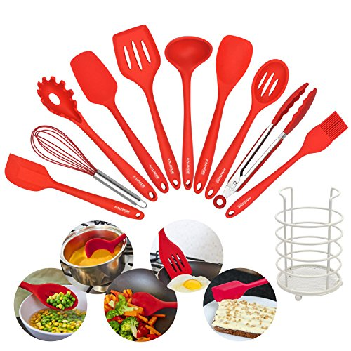 KALREDE Silicone Kitchen Utensils Set-11 Piece Non stick Cooking Utensils Set - kitchen Tool kit with Utensils Holder- For Pans,Pots Cooking&Baking(Red)