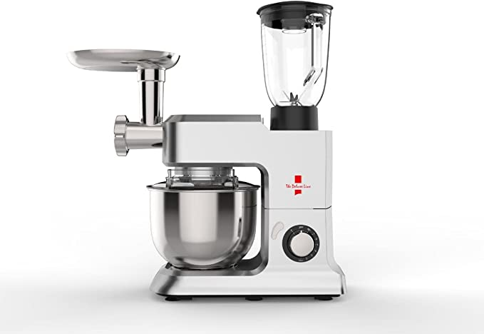 The Deluxe Line | 3 en 1 robot de cocina máquina de picar carne Licuadora – Amasadora | Masa para hacer pan 6,5 litros, 3,5 kg, Plata: Amazon.es: Hogar