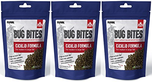 ((3 Pack) Fluval A6581 Bug Bites Cichlid Pellets for Medium to Large Fish (3.53 oz. Per)