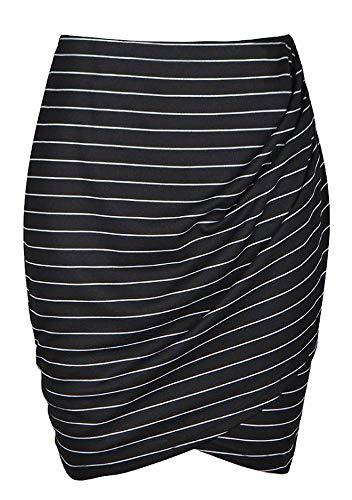 Womens Slim Cut High Waist Elastic Shirring Midi Pencil Skirt (S, Black Striped)