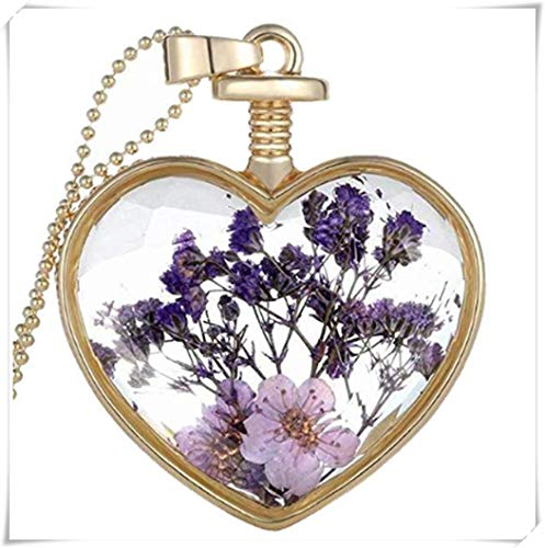 Fashion flowers Dry Embossed Charm Small Box Heart Pendant, Purple Resin Necklace.