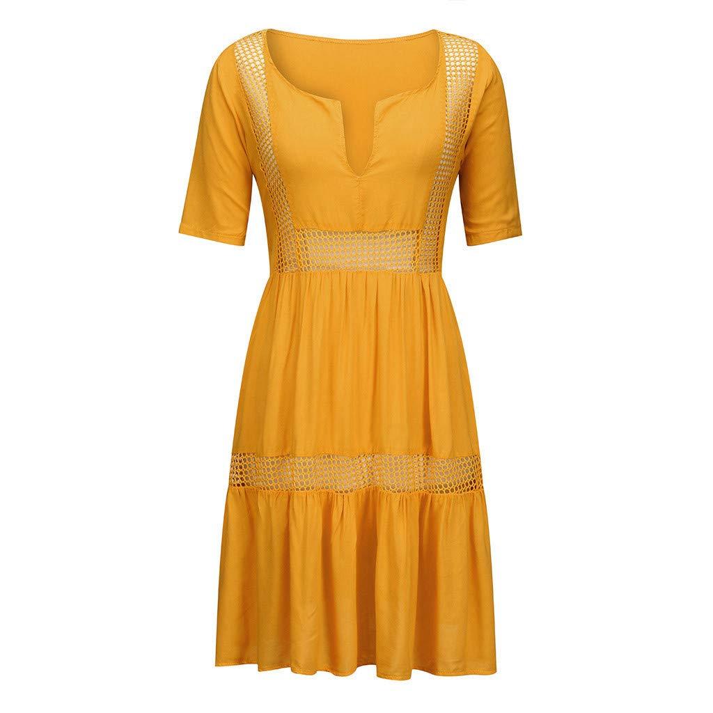 Robe bohème Femme col en V été décontracté Beach Holiday Robe Courte Creuse QinMM