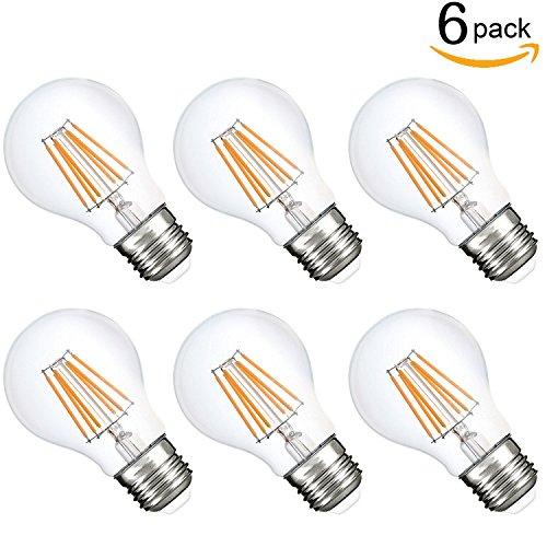 Dimmable LED A19 Bulb, 75 Watt Incandescent Bulb Replace 7.5 Watt LED Filament Light Bulbs, 4000K Natural White Medium Base E26 Filament Bulb 850 Lumens 120 Volt Glass Cover 360 Degree (6 pack)