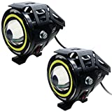 Allextreme 2 Pieces U11 Cree-Led - Head Hunters Led Projector 3000Lmw Headlight Fog Lamp (Dual Ring Red Blue) Fog Light