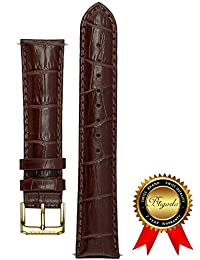 BRIGADA Bamboo Grain Brown Watch Band Replacement for Men, 20 mm standard length