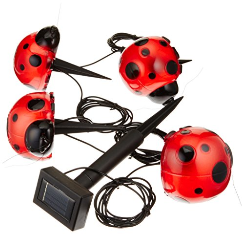 Smart Solar 3656MRM4 Ladybug Solar Red Light Set, 4-Pack, Powered by a Separate Solar Panel Allowing Lights to be Placed in Shady Areas Solar Ladybug Lights
