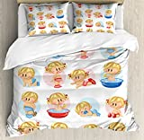 Baby Duvet Cover Set Queen Size by Ambesonne, Cute Boys and Girls in Various Situations Bathing Sleeping Crawling Drinking Milk, Decorative 3 Piece Bedding Set with 2 Pillow Shams, Multicolor