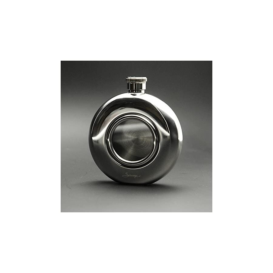 Savage 5oz Glass Front 18/8 Stainless Steel Hip Flask Rmf 06