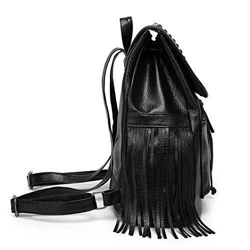 Black Bag Black Tassel Leisure Travel PU Woman Zipper Shoulder wOa8Pnq