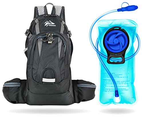 Kadzait Hydration Backpack- Everyday Use Daypack - 15L of Storage Space and 2L BPA Free Water Reservoir With Bite Valve, Non-Kink Sip Tube