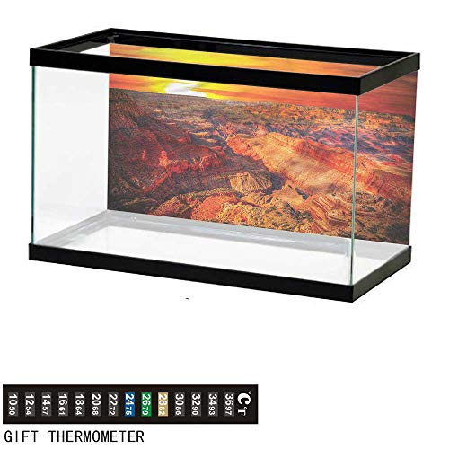 "bybyhome Fish Tank Backdrop Canyon,Grand Canyon Horizon,Aquarium Background,72"" L X 24"" H(183x61cm) Thermometer Sticker"