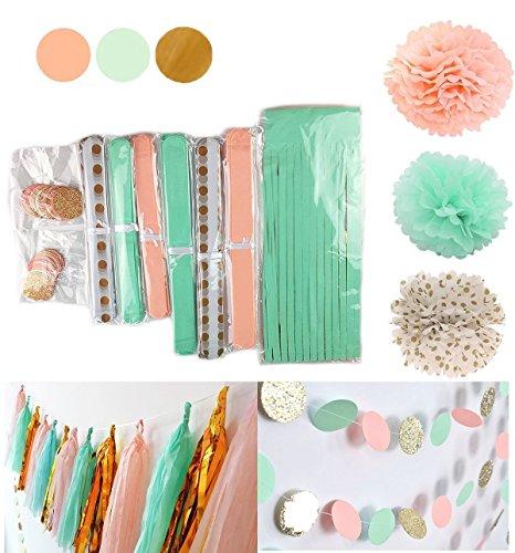 Jual Beli Qian S Party 20 Pcs Mint Peach Glitter Gold Tissue Paper