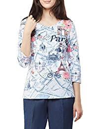 Plus Size Rhinestone Travel Print Crew Neck Top DnmParis 2X