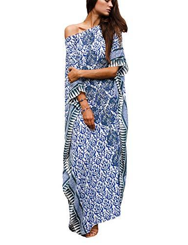 (Ailunsnika Women Plus Size O Neck Print Turkish Beach Kaftan Dress Boho Loose Bikini Swimwear Cover Up )