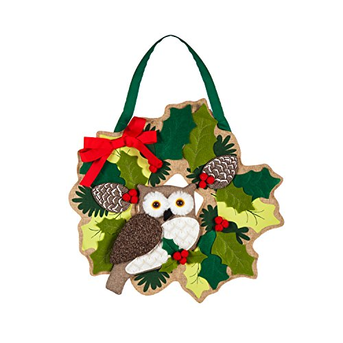 Evergreen Christmas Owl Outdoor Safe Door Hanger