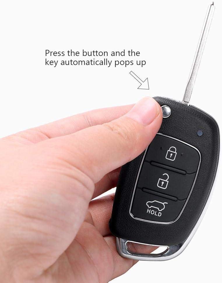 Car Key Remote Key Case Fob Shell Replacement 3 Buttons for Mistra Hyundai Solaris Ix35 Ix45 Verna Santa Cover Case Black