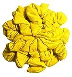 yellow Cotton Scrunchie Set, Set of 10 Soft Cotton Scrunchies, Solid Color Packs (Yellow)