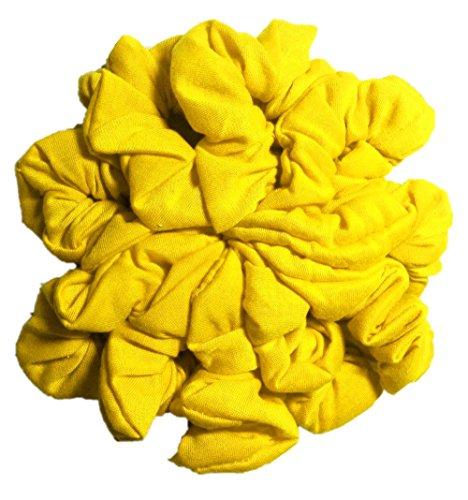 Cotton Scrunchie Set, Set of 10 Soft Cotton Scrunchies, Solid Color Packs (Yellow) ()