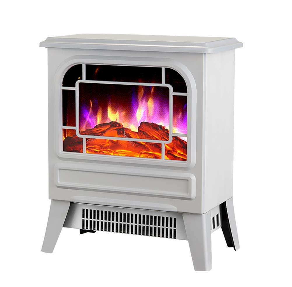 GHDE/& Electric Stove Heater with Log Burner Flame Effect Black and white 2000W Freestanding Fireplace with Wood Burning LED Light