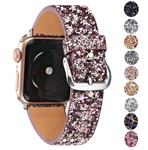 Greaciary Glitter Bling Band Compatible for Apple Watch 38mm 40mm 42mm 44mm,Leather Luxury Shiny Sparkle Women Replacement iWatch Strap Wristbands for iWatch Series 4/3/2/1 ()