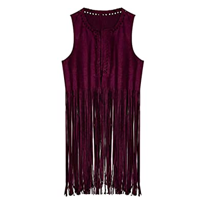 HDGTSA Women's Fringe Vest Suede Faux 70s Ethnic Open-Front Sleeveless Camis Western Tanks Tops(C Red,S): Clothing