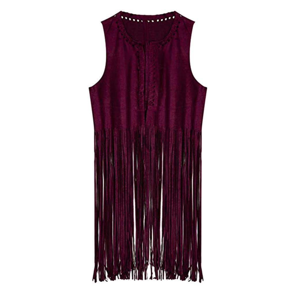〓COOlCCI〓Women Fringe Outerwear Vest Faux Suede Tassels 70s Hippie Clothes Open-Front Sleeveless Vest Cardigan Female Red
